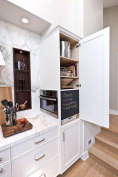 hidden appliance Sideways microwave/hide microwave in pantry cabinet Microwave In Pantry, Hidden Microwave, Microwave Drawer, Built In Microwave Cabinet, Microwave Oven Combo, Microwave Convection, Diy Kitchen, Kitchen Storage, Kitchen Decor