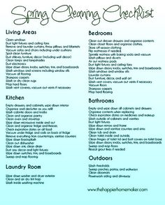 spring cleaning check list: it will take me until the end of summer or the end of 2013 to do most of these things, but I will try!