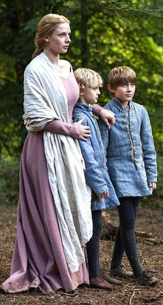 Rebecca Ferguson as Elizabeth Woodville in The White Queen. She is with her sons from her first marriage Thomas Grey and Richard Grey - 2013