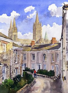 Margaret Merry   WATERCOLOR Watercolor Sketch, Watercolor Paintings, Truro Cathedral, Deco Paint, Building Drawing, Watercolor Architecture, Muse Art, Virtual Art, Fine Art America