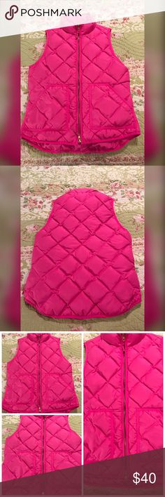 J Crew bright pink, small, down puffer vest J Crew down puffer vest. Excellent condition with no signs of wear. Double zipper so if you're sitting you can unzip from the bottom. Beautiful bright pink color.  MEASUREMENTS:  armpit to armpit is 18 inches.  Length from center back is 27 inches. Length from front top zipper is 22 inches. J. Crew Jackets & Coats Vests