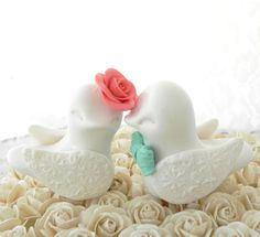 Love Birds Wedding Cake Topper, White, Coral and Mint Green, Bride and Groom Keepsake, Fully Custom on Etsy, $62.00