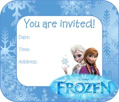 Frozen Birthday Party Invitation -- FREE PDF Download