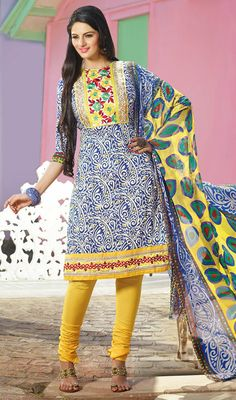 Blue and Yellow Cotton Churidar Suit Price: Usa Dollar $73, British UK Pound £43, Euro54, Canada CA$79 , Indian Rs3942.