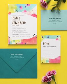 Molly and Elizabeth's Colorful, Modern Wedding Invitations by Fine Day Press featured on Oh So Beautiful Paper #weddinginvitations #modernweddinginspiration #weddinginspo #stationery #ohsobeautifulpaper