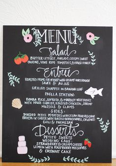 Illustrated Wedding Menu - Hand Painted & Lettered - 16 x 20 - Customizable. $115.00, via Etsy.