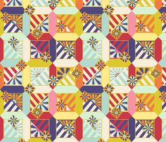 floral cheater quilt fabric by glimmericks on Spoonflower - custom fabric