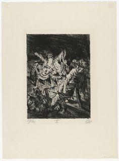 Otto Dix (1924) Drahtverhau vor dem Kampfgraben, da série Der Krieg. Água-forte e ponta-seca. 25,5 x 19.3 cm (estampa), 47,2 x 34,7 cm (papel). Impressa por Otto Felsing e publicada por Karl Nierendorf, ambos de Berlim, tiragem 70 cópias. MoMA, The Museum of Modern Art.