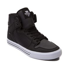 Shop for Mens Supra Vaider High Skate Shoe in Black White at Journeys Shoes. Shop today for the hottest brands in mens shoes and womens shoes at Journeys.com.High top skate shoe from Supra featuring a vulcanized outsole, sliding tongue logo, high memory polyurethane insole, ankle support, leather liner, and SupraFoam midsole providing entire foot impact resistance and optimal shoe flex.