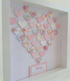 Personalised Girl's Framed Paper Art Picture Keepsake : 3D Heart of Hearts. Unique handmade gift for little girl or precious friend
