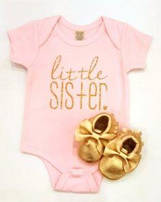 Little Sister Onesie - Gold Glitter