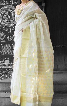 Designer Handwoven Woven Chanderi Saree | India1001.com