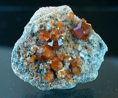 Fine gemmy Spessartite on matrix from China Rocks And Minerals, Healing Stones, Stone Jewelry, Silver Bracelets, Jewelry Shop, China, Crystals, Minerals, Silver Cuff Bracelets