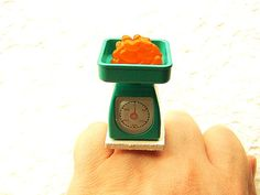 Orange Jelly Beans on Scale Miniature Food Ring by SouZouCreations, $10.00