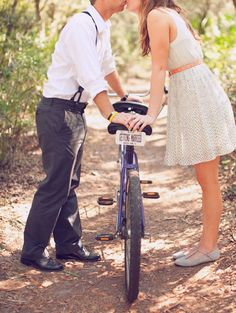 Engagement shoot with sweet tandem bike.