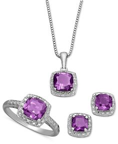 Sterling Silver Jewelry Set, Cushion Cut Amethyst Pendant, Earrings and Ring Set