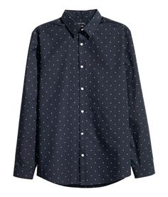Easy-iron Shirt | Dark blue/patterned | Men | H&M US
