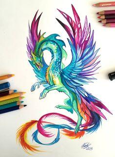 Hummingbird Dragon by Katy Lipscomb, colored pencil, 2015