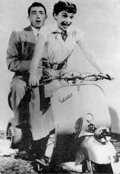"""Audrey Hepburn and Gregory Peck on a Vespa in the movie """"Roman Holdiay"""""""