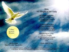 "Personalized Heavenly Dove Memorial Poem Print  8.5""x11"" Ready to Frame #Handmade"