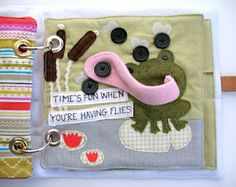 Quiet book page ideas. frog tongue and buttons