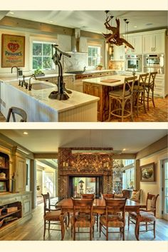 The Southold barn house kitchen and dining room. Barn Home WOW! Visit for more photos and floor plans. #barnhouseplans