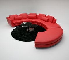 This large sized, red leather sectional sofa instantly brings a refreshing touch to your decor. With added softness to circular design seating cushion will make your time more relaxing and enjoyable.