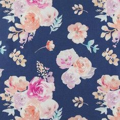 navy background with watercolor blooms, Easter quilting floral cotton, apparel fabric, 100% cotton fabric,  #navy #floralprint #blue #pantone #color2018