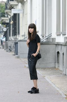 a leather pencil skirt at that length is nothing but perfection.