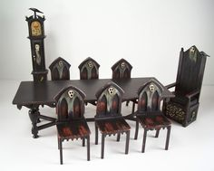 OOAK Miniature Dollhouse Spooky Gothic Medieval Table & 6 Chairs & 2