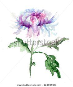 Stylized Chrysanthemum flower, watercolor illustration by Regina Jershova, via Shutterstock