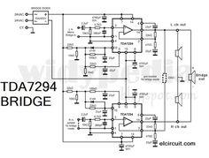 icu ~ Bridge TDA 7294 Power Amplifier in 2019 Dc Circuit, Circuit Diagram, Audio Box, Diy Amplifier, Electronics Projects, Planer, Bridge, Electronic Circuit, Layout