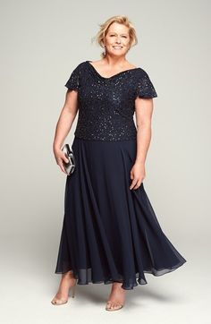 J Kara Mock Two Piece Sequin & Chiffon Gown (Plus Size) | Nordstrom