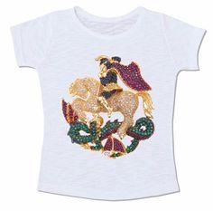 camiseta jóia são jorge jorge da capadócia brilhante ouro esmeralda rubi pedraria dragão santo salve jorge
