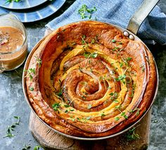Perfect for a cold autumnal evening, this combination of sausage and Yorkshire pudding in a pretty coiled design is sure to be a family hit