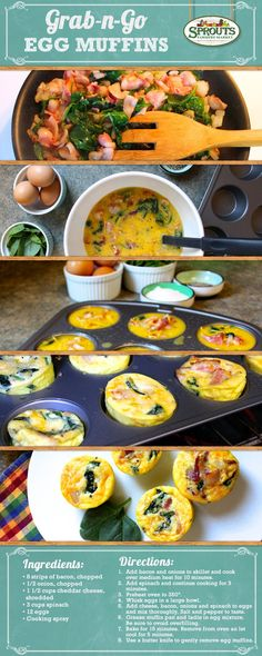 Super fast, super easy and super delicious. You've gotta try these grab-n-go egg muffins. I will make this without bacon as I am allergic to pork. Banting Diet, Banting Recipes, Low Carb Recipes, Diet Recipes, Cooking Recipes, Healthy Recipes, Cooking Eggs, Egg Recipes, Kos