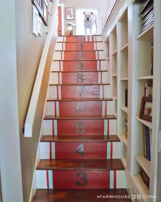 love the book shelves up the stairs! cute remodel Grain Sack Painted Stairs: Farmhouse Home Tour Basement Steps, Basement Staircase, Staircase Bookshelf, Attic Stairs, Staircase Design, Balustrades, Built In Bookcase, Bookshelves, Bookshelf Ideas