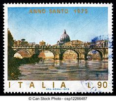 Pictures of Postage stamp Italy 1975 Angels Bridge, Rome, Vatican ...