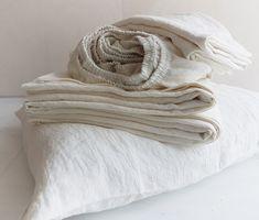 Linen SHEET SET in off-white - softened pure linen flat sheet, fitted sheet, 2 pillowcases - Twin Full Queen Cal King white linen bedding Flat Sheets, Linen Sheets, Linen Bedding, Bed Linens, Bed Sheets, Bed Linen Australia, Bed Linen Design, Bedding Sets Online