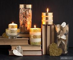 DIY Candle Making ideas, tutorials and inspirations for Holidays and celebrations. White Candles, Diy Candles, Pillar Candles, Decorating Candles, Glitter Candles, Homemade Candles, Gold Diy, Pots, Do It Yourself Wedding