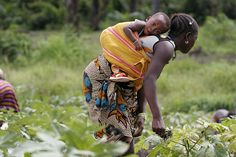 Woman and child in gardening cooperative sierra leone