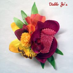 Pink Tiki Hair flower, Tropical Hawaiian Pin UP, Rockabilly Hair by DiabloJos on Etsy