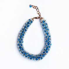 Blueberry Ice Bracelet. Handmade bracelet made from blue and clear beads.