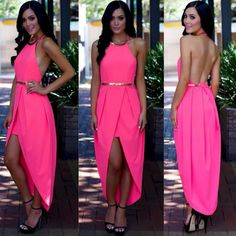 Women Sexy Evening Party Sleeveless Long Maxi Formal Bridesmaid Cocktail Dress #Unbranded #StretchBodycon #Casual