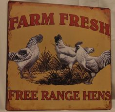 Free Range Hens Tin Sign for a country or farm-style kitchen/ Available online and in our shop.   Bird's Nest Gifts and Antiques 117 N main St Bryan, Texas, 77803 979-704-6256