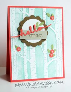 Stampin' Up! Woodland Embossing Folder Hello Spring Card + Video Tutorial with Inking Up Embossing Folder Techniques #stampinup #technique www.juliedavison.com