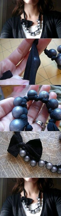 Valmista hauska kierrätyskaulakoru vanhoista, tai miksei uusistakin sukkahousuista. Use pantyhose to make a fun upcycled necklace.