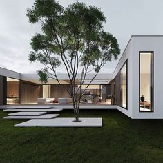 """Dope or nope? The House is a 230 sqm. modern home proposed to be built this year. Being placed on stilts, the main characteristic of the house is its visual impression of being a """"floating"""" home. The house is designed and visualized by Modern Exterior, Exterior Design, Modern Architecture House, Architecture Design, Container Architecture, Residential Architecture, Modern Villa Design, Mansions Homes, Dream House Exterior"""