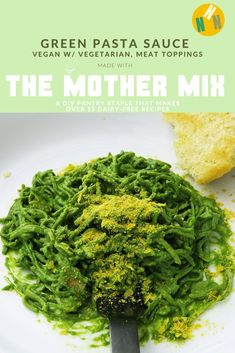 This creamy, plant-based Green Pasta Sauce is easy to make with your choice of toppings. Cauliflower Burger, Spicy Cauliflower, Dairy Free Recipes, Vegetarian Recipes, Vegan Vegetarian, Vegan Ricotta, Cilantro Lime Slaw, Compote Recipe, Vegan Cheese Sauce