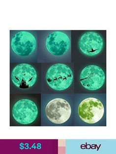 BIBITIME 30cm Luminous Earth Sticker Decorative Removable Wall Decal Glow in the Dark for Bedroom Room